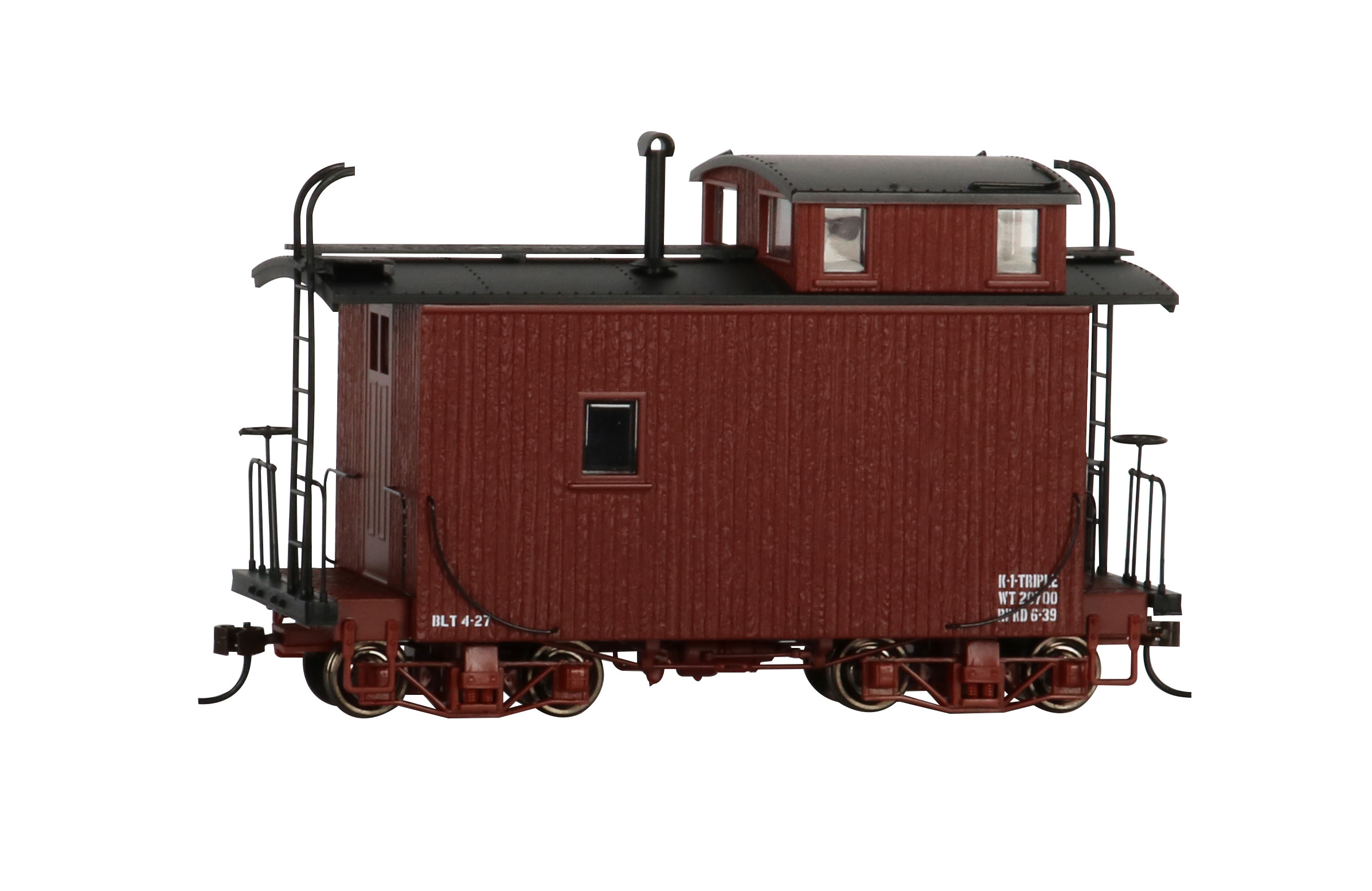 18 ft. Off-Set Cupola Caboose - Oxide Red, Data Only