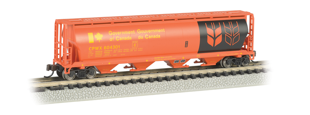 Gov. Of Canada - Red - 4 Bay Cylindrical Grain Hopper (N Scale)