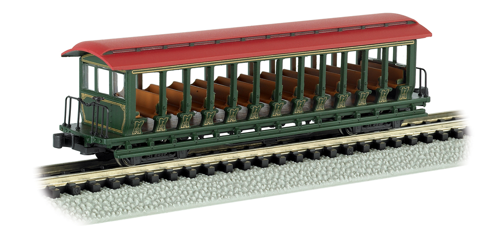 Unlettered - Grn/Red - Jackson Sharp Open Excursion Car N Scale